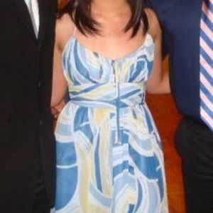 Blue, Yellow, and White Semi Formal Dress